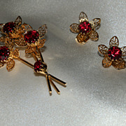 REDUCED Red Rhinestone Set of Pin and Earrings, Vintage 1960s Daffodil Jewelry