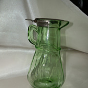 REDUCED Hazel Atlas Green Glass Syrup Pitcher With Original Lid