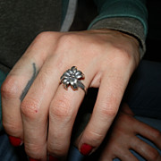 REDUCED Sterling Silver Poinsettia Ring From the 1970s, Christmas Ring in size 6