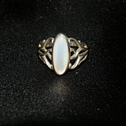 REDUCED Ring Marked Sterling with Beautiful White Opal, Delicate Vining Design