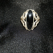 SOLD Kabana Signed Ring Marked Sterling with Large Onyx Black Stone
