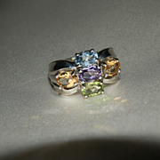 SOLD Sterling Silver Estate Ring with Semi-Precious Stones