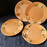 REDUCED Set of Four Vintage Mid Century Modern Wooden Salad Plates with Hand Painting