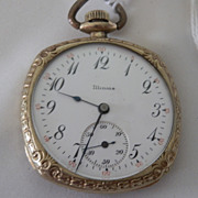 REDUCED Vintage Illinois Square Cased Dress Pocket Watch with Second Hand Dial in Excellent ..