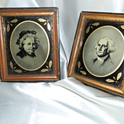 A Pair of Reverse Painted Portraits of Martha and George Washington