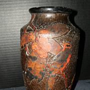 1920's Art Deco Carved Japanese Tokanabe Pottery Vase