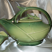 McCoy Pottery Avocado Green Teapot with Creamer and Sugar