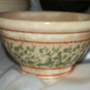 Vintage Spongeware Small Bowl in Cream Green and red