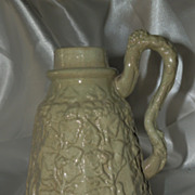 SOLD American Majolica Syrup Pitcher in Moss Green with Ivy Leaf Design