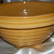 Vintage Creamware Yellow Bowl with Square Base and Marked 9