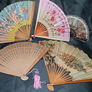 REDUCED Collection of 7 Vintage Chinese Paper and Cedar Fans for both locals and tourists