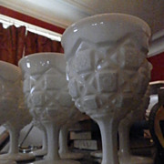 Set of 8 Milk Glass Goblets by Westmoreland in Mint Condition