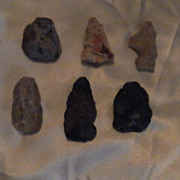 Collection of Hand Made Ancient American Spear Tips or Large Arrowheads