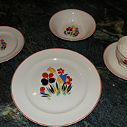 Circus by Universal Pottery American Mid Century Dinnerware Set for Six Camwood Ivory Line