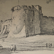 """Chepstow Castle"" by Joseph Pike Antique Lithograph of English Keep"