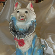 Vintage Chalkware Statue of a Dog Collie or Wolf