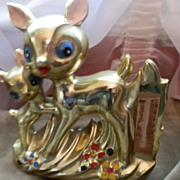 Made In Japan Gold Luster Deer Family Statue to hold Thermometer