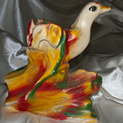 Chalkware Vintage Statue of a Colorful Tropical Bird 1940s