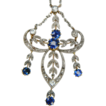 Montana sapphire and diamond Edwardian pendant with original fitted case