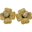 Yellow diamond and white diamond French flower earrings 0908