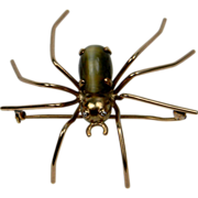 Spider Brooch set with diamond eyes and cat's eye thorax