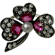 Ruby and diamond and pearl Trefoil Heart Flower ring (1058)