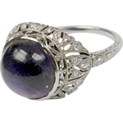 Belle Epoque Cabochon Amethyst and Diamond Ring (1112)