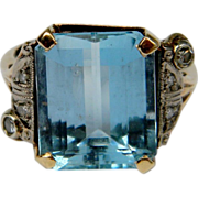 Aquamarine and Diamond 1930's Ring (1125)