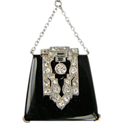 Attention all Handbag collectors!! Onyx and Diamond Handbag Pendant Necklace (1131)