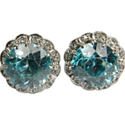 Blue Zircon and Diamond Earstuds