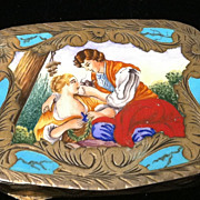 Vintage Italian Silver Gilt and Enamel Compact