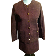 Vintage Anne Klein &quot;MOD&quot; Suede Mini Skirt Suit