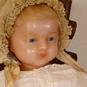 "SOLD Antique English Poured Wax Baby 23"" - Original gown."