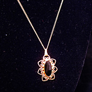 Black Obsidian Filigree Heart Necklace 12KT Gold Filled Chain