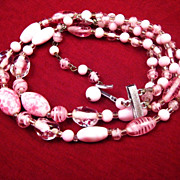 SALE Japanese Double Strand Pink Glass Bead Necklace