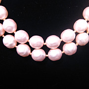 SALE Nice! Double Strand Baroque Simulated Large Pink Pearl Necklace