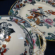 SALE PENDING Set of  Imari Cauldon England Ironstone Platter & Covered Dish