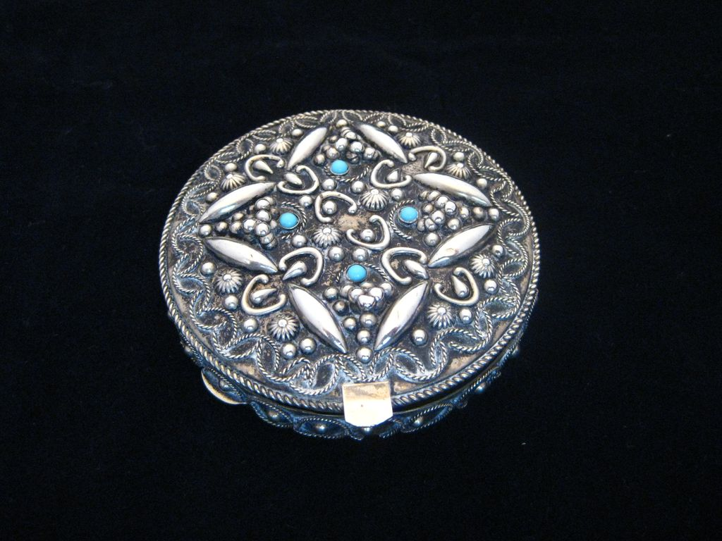 Repousse Silver Jeweled Compact  with Mirror
