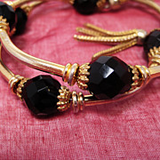 SALE Vintage Black Glass Gold  Wrap Coil Bracelet