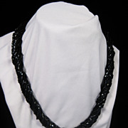 SALE Stylish Twisted Black Seed Bead Necklace