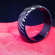 SALE Chunky Carved Black Translucent Bangle Bracelet