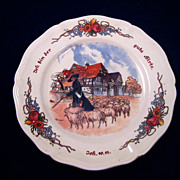 1911 Sarreguemines France Obernai Shepherd and Flock Plate