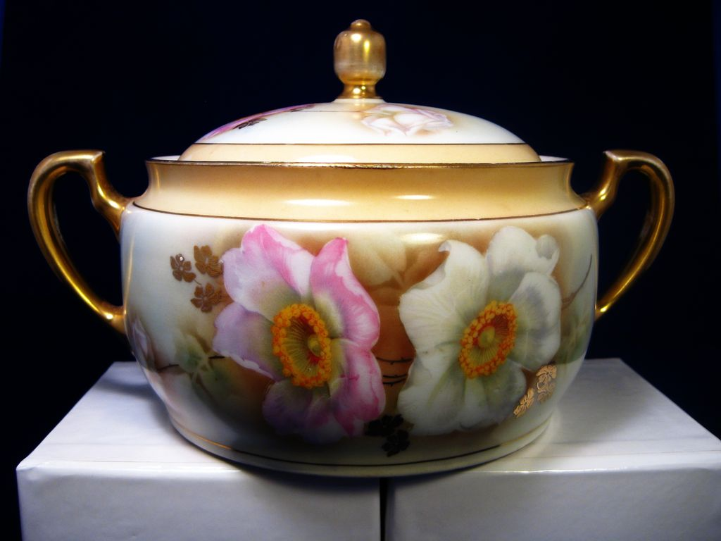 Gorgeous Bavaria Hand Painted Biscuit  Cracker Cookie Jar