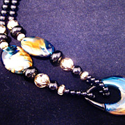 Fabulous Vintage Large Black and Blue Necklace