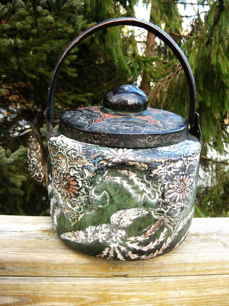 Fantastic Signed Large Painted Antique Japanese Copper Kettle