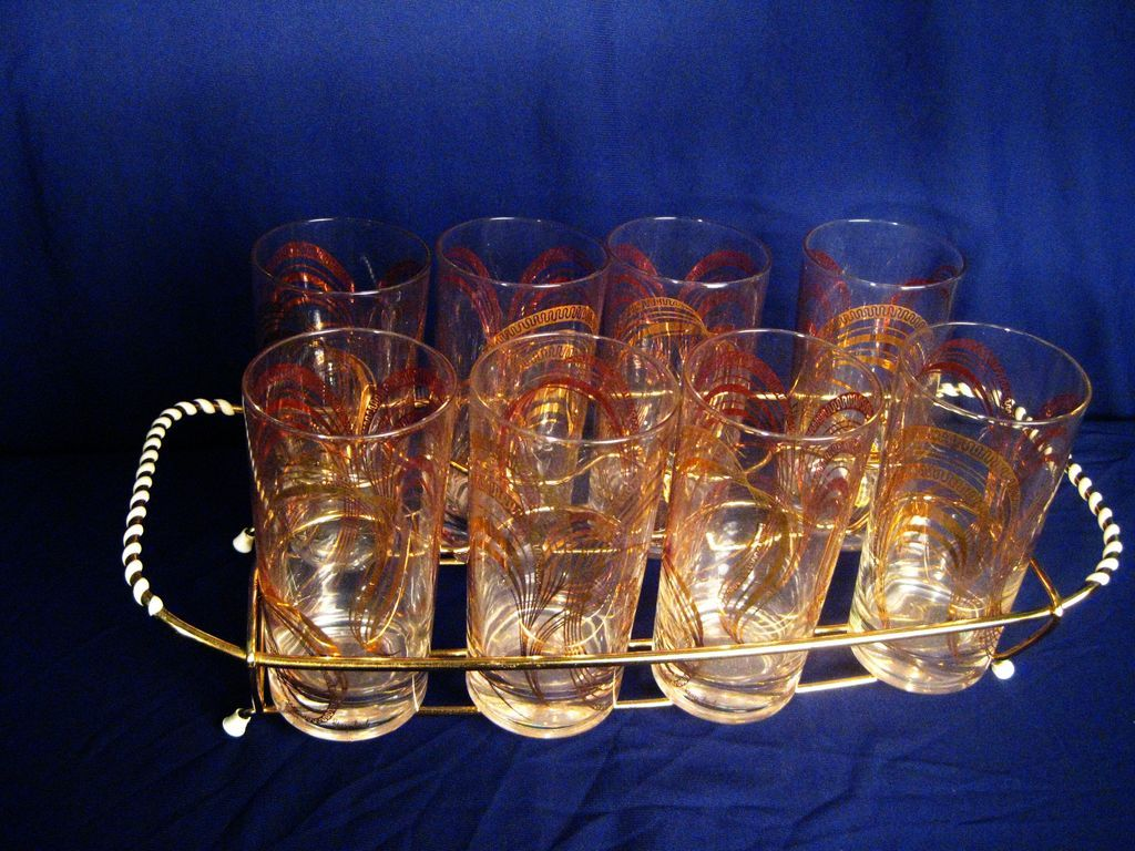 Mid-Century Modern Set of 8 Gay Fad Glasses with Serving Tray