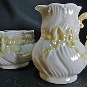Irish Belleek 409 Creamer & 410 Sugar Ribbon Pattern