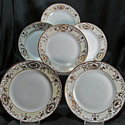 Nippon - Noritake White & Gold Six (6) Plates 6-1/2 inch size