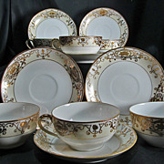 Nippon - Noritake White & Gold Six (6) Tea Cups & Saucers