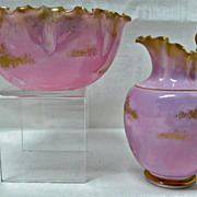 Willets American Belleek Sugar & Creamer Set Pink Luster